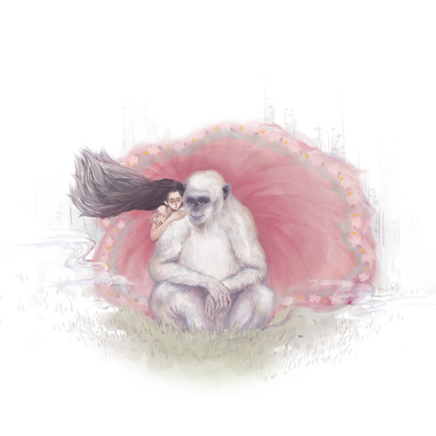 girl and white ape