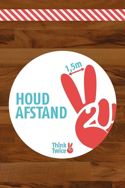 Stickers van onze eigen actie: 'Think Twice'