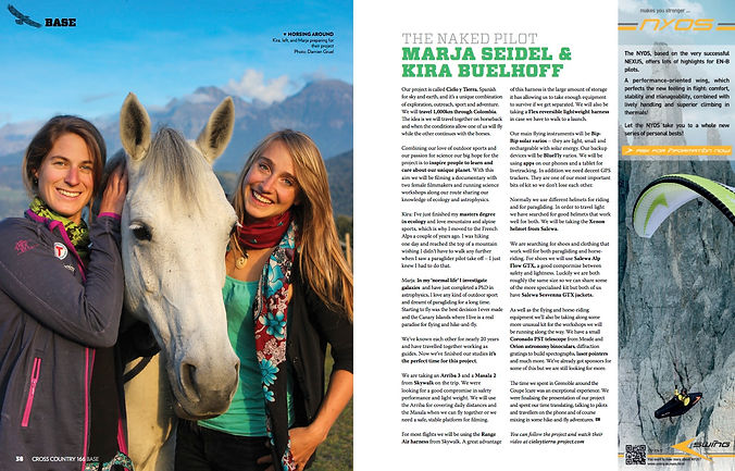 Marja Seidel and Kira Buelhoff - the naked pilot - in cross country magazine - cielo y tierra project