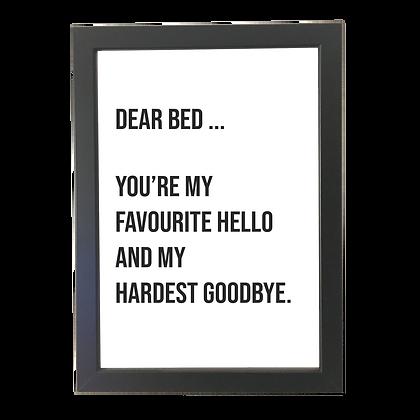"""""""Dear bed"""" plakat"""
