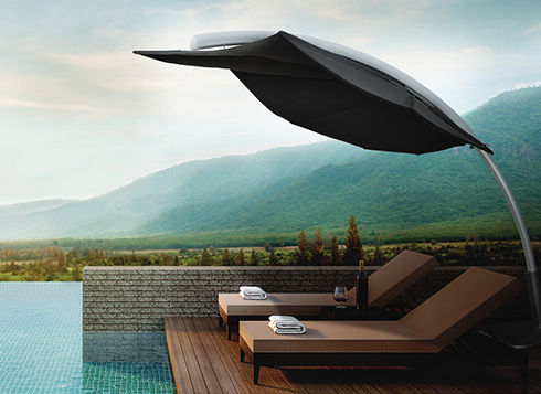 """We like to say """"The sun always shines when you're cool…"""" And Fiberbuilt Umbrellas & Cushions has got the market cornered on shade! With thoughtful designs, quality materials and expert craftsmanship, Florida-based Fiberbuilt Umbrellas & Cushions is one of our favorite factories to work with. Contract quality and durability is built into each of their products, and the pricing is one of the most competitive in the market."""