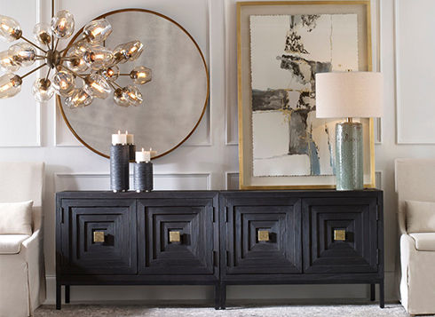 """Uttermost is fantastic!!! A gigantic inventory of beautiful wall décor, decorative lighting, and fabulous accessories are stocked on both coasts. With their Transitional to Modern """"Standard"""" line and more design-centric Revelation Collection, Uttermost is an amazing source for public areas and guest rooms. And the price??? Pick a few of your favorites and give us a call. You will be pleasantly surprised."""