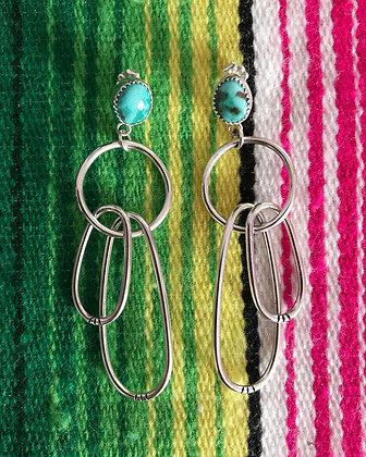 Kings Manassa Turquoise Oblong Drop Earrings