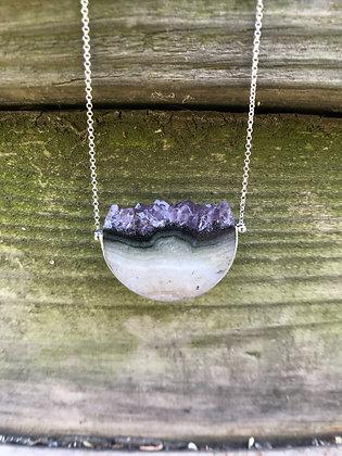 #4 Amethyst Half Moon Crystal Slice Necklaces