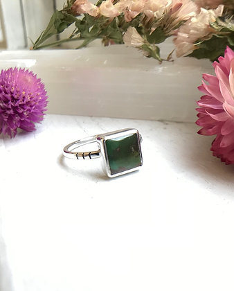 Royston Stacking Ring | Deep Green Sq | Size 7