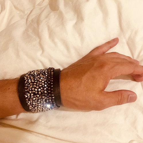 Stunning Hand Crafted Custom Designed Beaded Leather Tribute Bracelet, MAasP