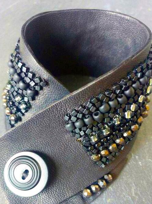 Stunning Hand Crafted Custom Designed Beaded Leather Bracelet, MAasP Logo.