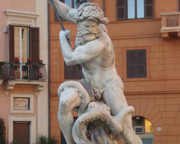 Fontana del Nettuno em detalhe - Piazza Navona - Roma - Itália