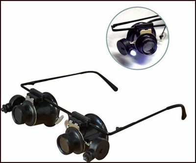 10X Magnification Dual LED Magnifiers on Glasses Frames