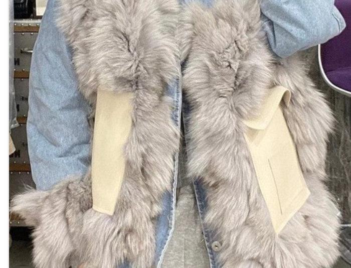 Bad Girl Fox Fur Jean Jacket