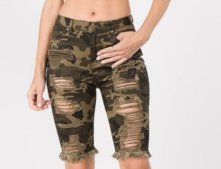 Camo Fly Girl Distressed Bermuda Shorts
