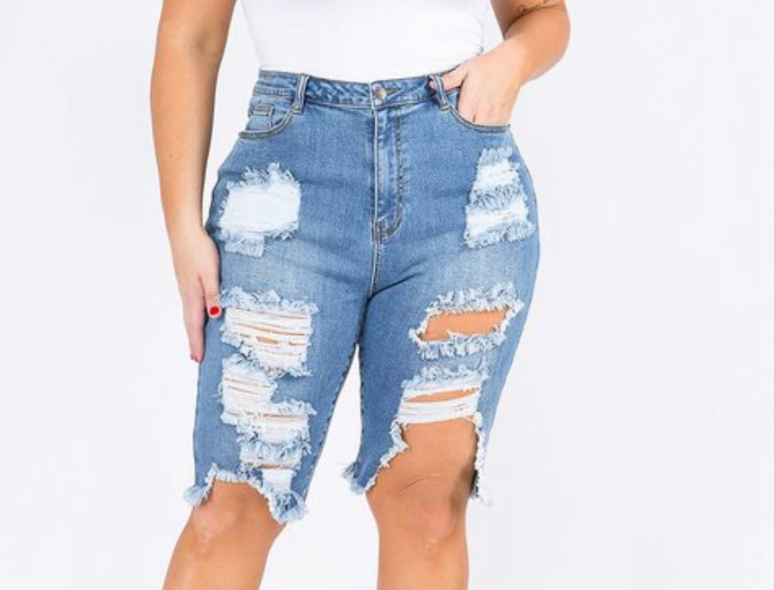 Curve It Up Distressed  Bermuda Shorts
