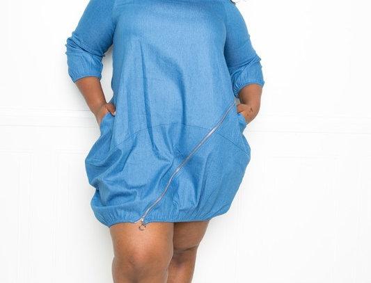 Zip It Up Jean Bubble Dress