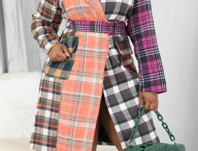 Color Work Patch Plaid Coat