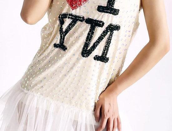 I Love New York Bling Ruffled Dress