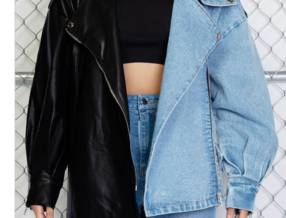 Double Life Color Block Leather Jean Jacket