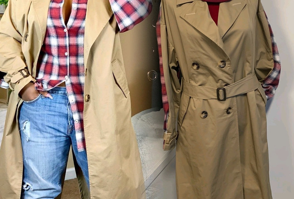 Plaid Delight Trench Coat