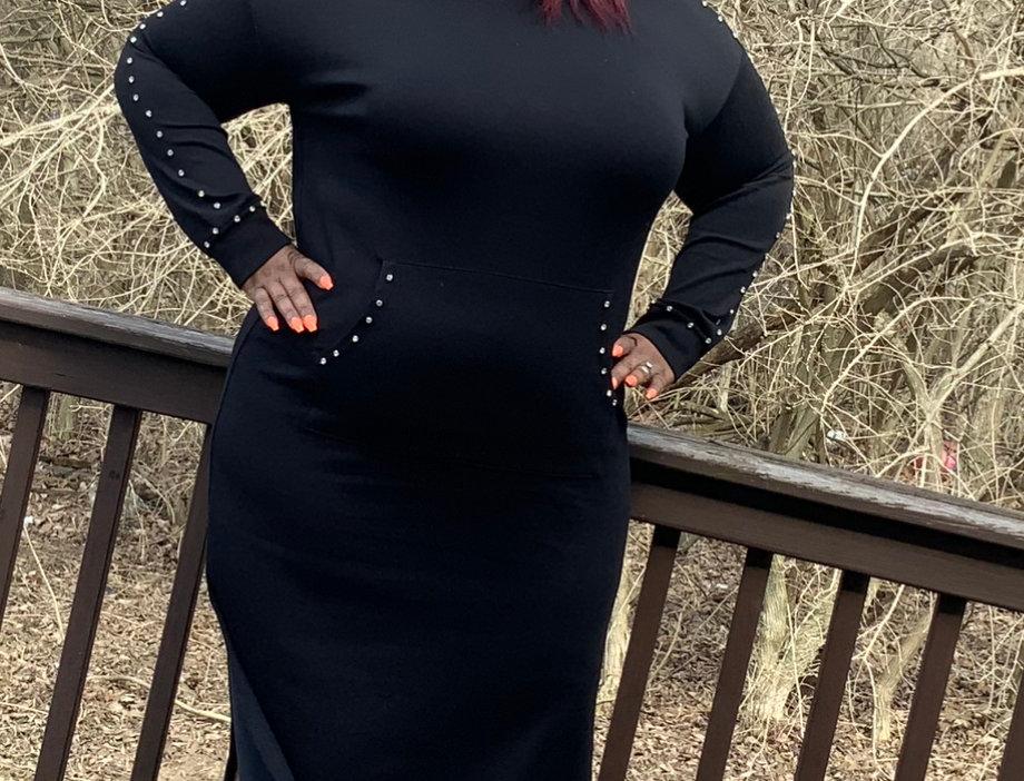 Bling Maxi Hoodie Dress
