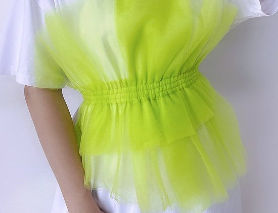 Neon Chiffon Cinch Mini  Shirt Dress