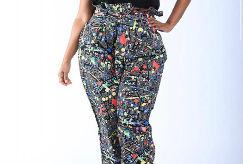 Newspaper Splatter Baggy Pants
