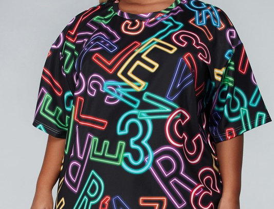 Neon Alphabet Shirt Dress