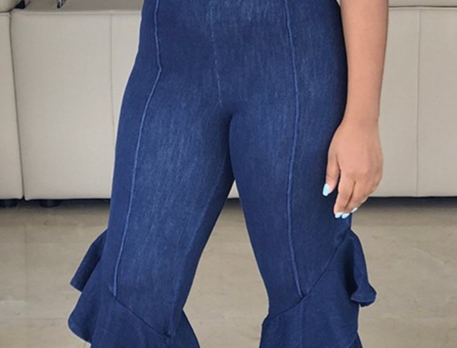 Ruffled Girl Bell Bottom Jean