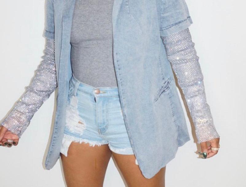 Denim Party Sequins Jacket
