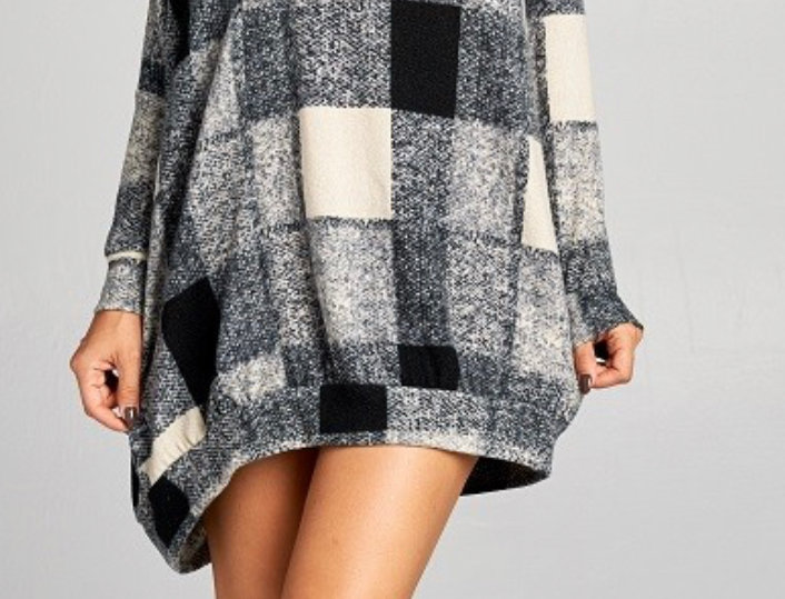 Plaid Peekaboo Shirt Dress