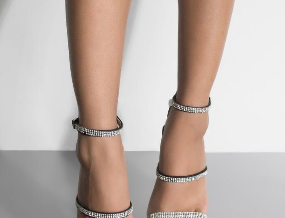 Sparkle In Your Eyes Bedazzled Pointed Toe Heeled Sandal