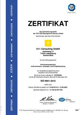 K11 ISO 9001 Zertifikat Ludwigsburg
