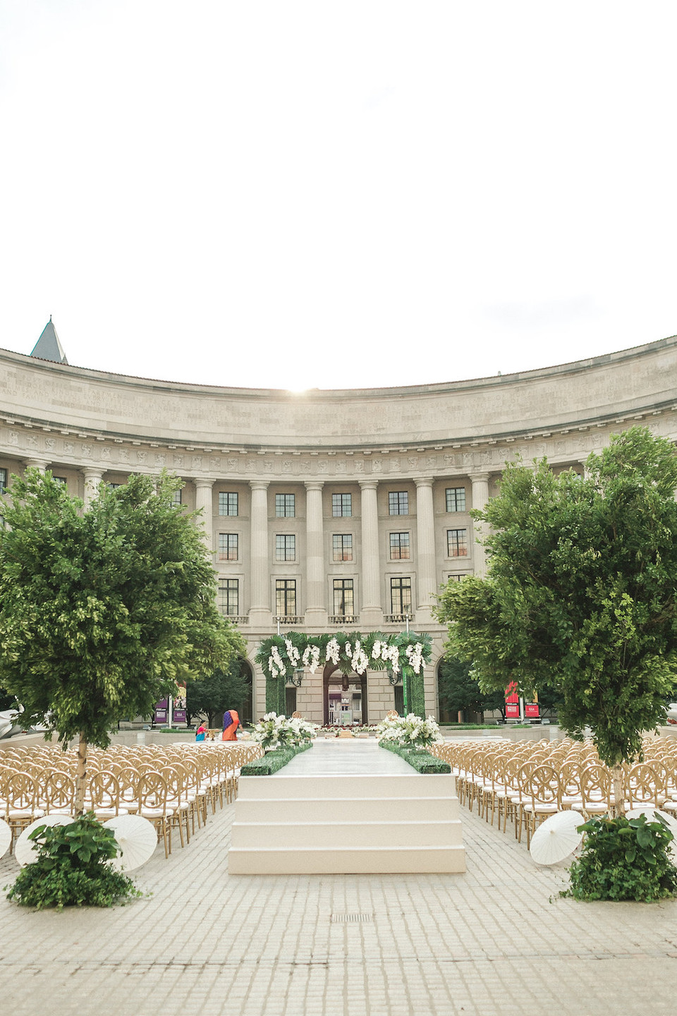 Ronald Reagan Building Plaza Ceremony Modern Indian Wedding CG & Co Events