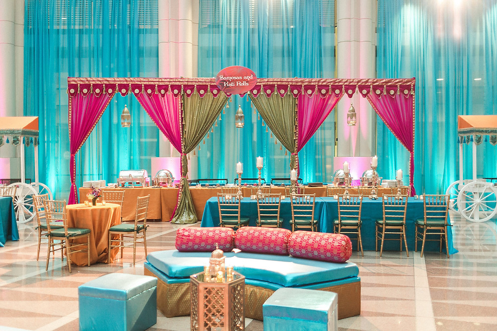 Colorful Washington DC Indian Wedding Fuchsia Teal Orange Food Stations CG & Co Events