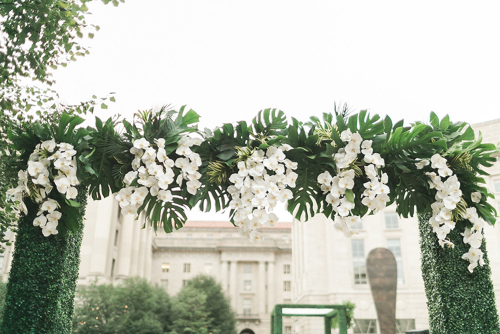 Washington DC Indian Wedding Ceremony Green White Orchids Boxwood CG & Co Events