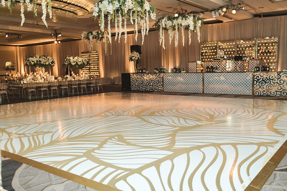 Custom Gold and White Pattern Dancefloor Washington DC Indian Wedding CG & Co Events