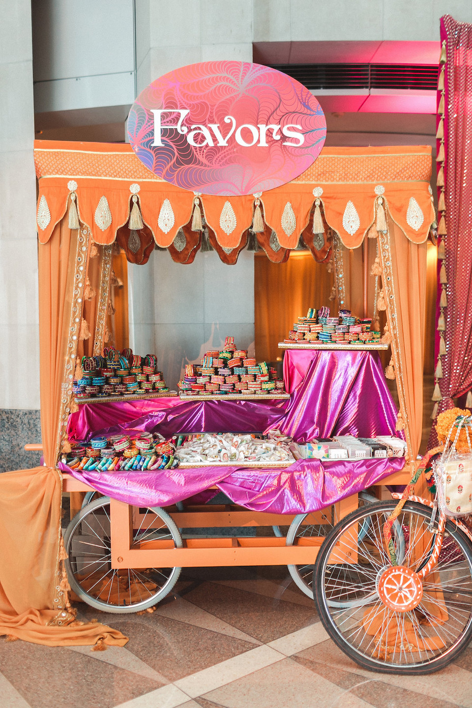 Washington DC Indian Wedding Colorful Favor Display Rickshaw CG & Co Events