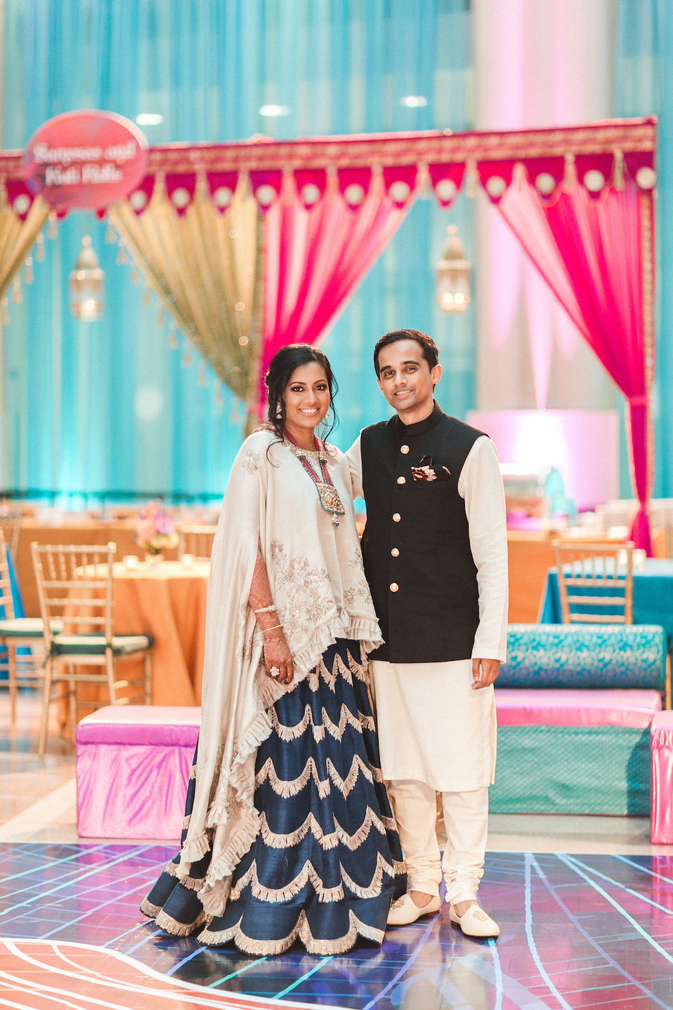 Indian Wedding Bride and Groom Sangeet CG & Co Events