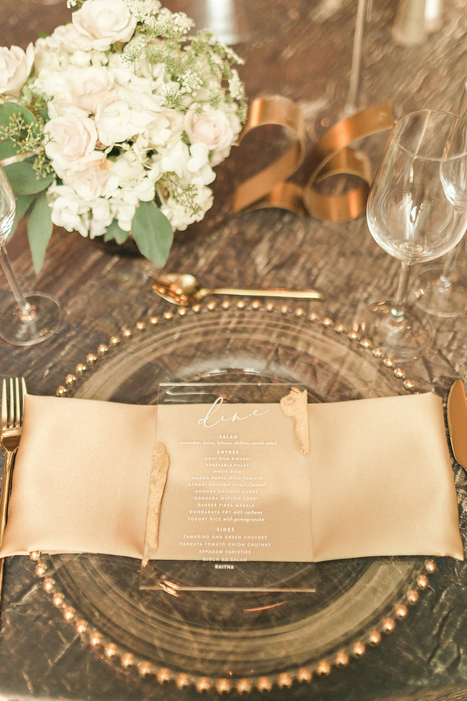 Acrylic and Gold Foil Wedding Menu Modern Wedding Decor CG & Co Events