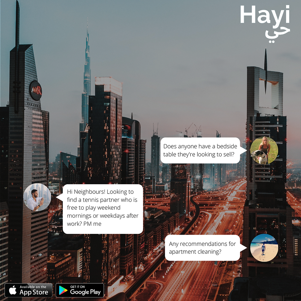 Neighbours communicating via Hayi App