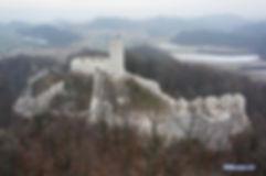 Ruiny, zamku, pilcza, smoleniu, góra, las, lasem, zabytek, śnieg, zima