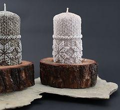 świeczniki, kamień, podstawka pod świece, świeca ozdobna, wytoczona sosna, prezent nietuzinkowy