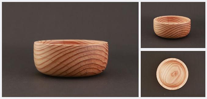 misa drewniana piękna, ozdobna, art woodturning, modrzewiowa