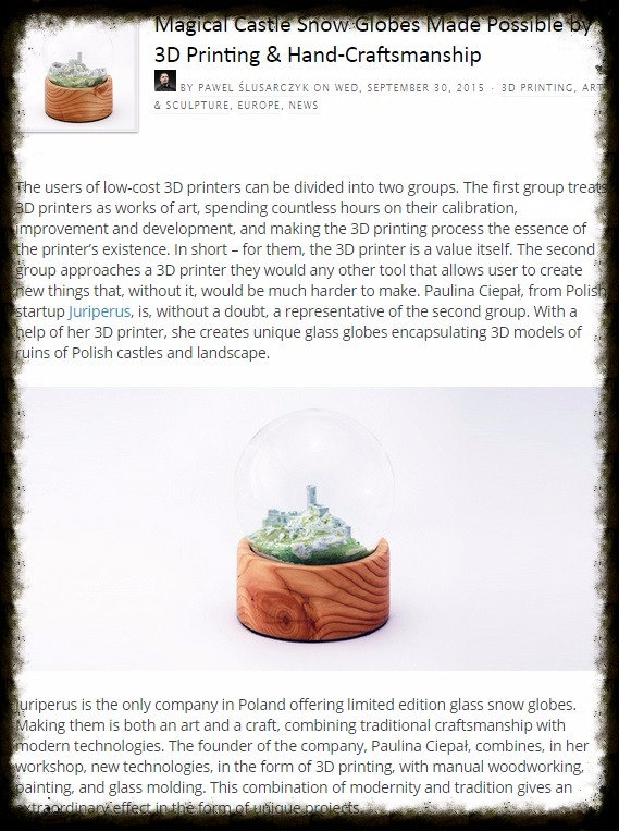 3D printing in handicrafts. Miniature castle ruins in a glass snow globe. Polish castles.