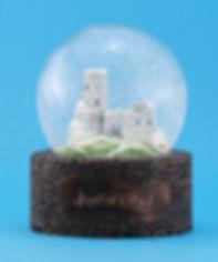 Szklana śniegowa kula, toczenie w drewnie, juriperus LOGO