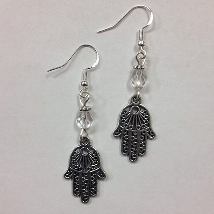 Hamsa, Healing Hand or Judaica Symbol of Life Earrings, with clear crystal