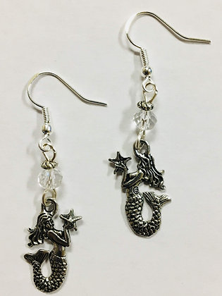 Mermaid Charm Earrings with clear faceted crystal Accent Beads