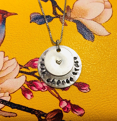 Mother's Circle Name Pendant with Stamped Heart Pendant