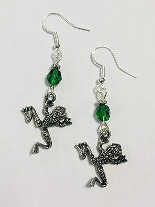 Patterned Frog Earrings with faceted green crystal accent bead, sterling silver