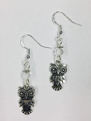 Owl Charm Earrings, on sterling silver earwires