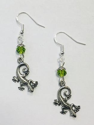Lizard Earrings, on sterling silver earwires