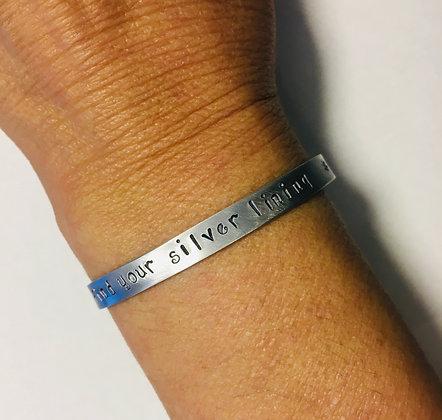 """""""Find your silver lining"""" Handstamped Bracelet"""